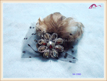 Handmade Flower Feather Hair Clip For Girls Party Dress Accessories