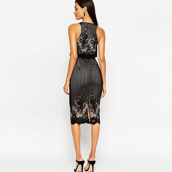 Fashion women bodycon Sexy Sleeveless Lace Dresses,office dress for ladies