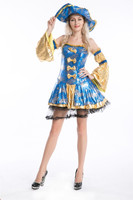Instyles Quanzhou Ladies blue gold Caribbean Pirate Fancy Dress Costume Pirate Wench Fancy Dress