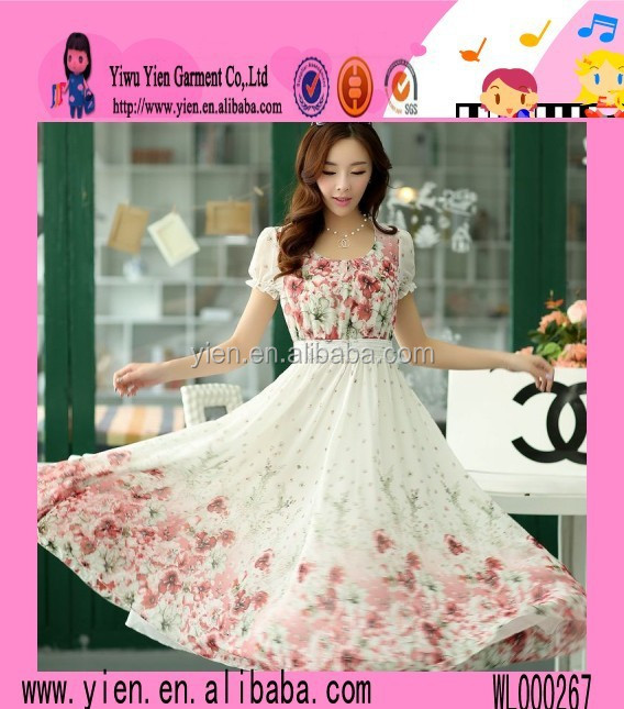 Wholesale Sweet Beautiful Girl Dress New Arrive Printed OEM Selling Pictures Office Dress For Ladies