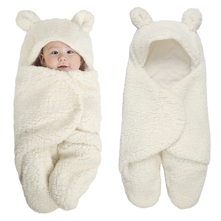 wholesale hot selling Newborn <strong>baby</strong> white soft warm lamb cashmere <strong>baby</strong> swaddle wrap autumn winter thickening <strong>baby</strong> sleeping bag