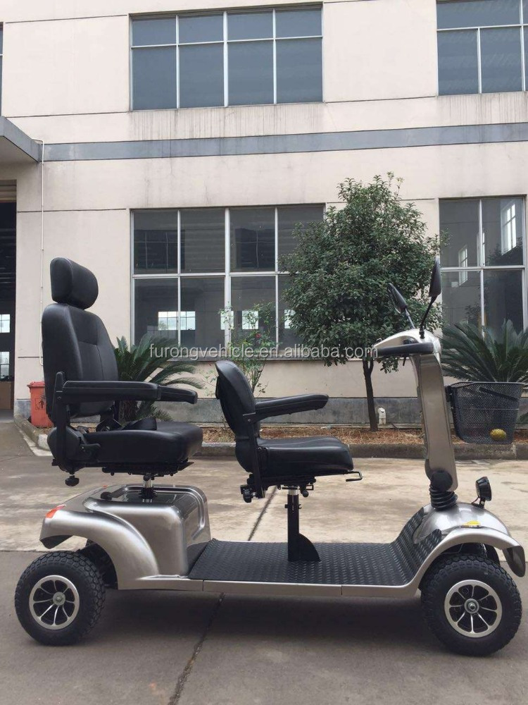 2 person four wheel electric disability mobility scooters with LED headlight