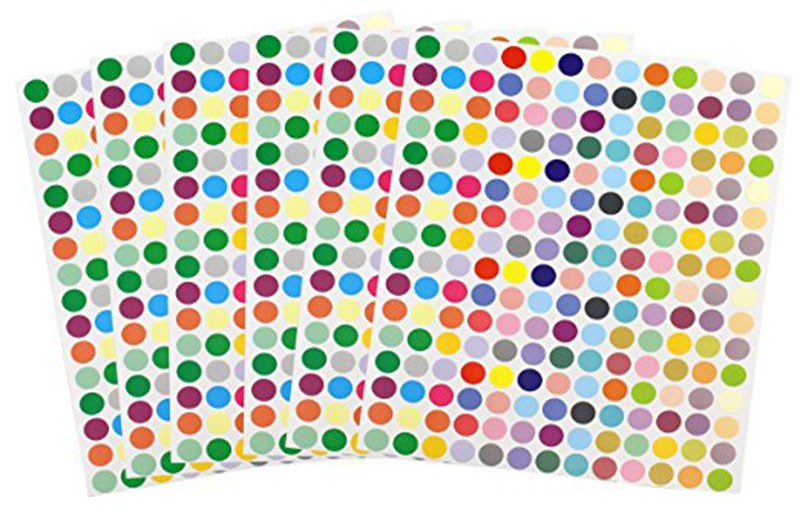 Blank Multicolored Round Circle Coding Essential Oil Bottle Labels for Roller Bottles And Sample Via