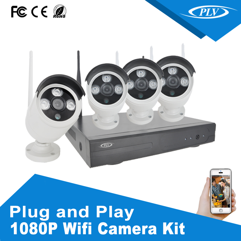 4CH IR HD Home Security Wireless NVR IP Camera System 1080P CCTV Set Outdoor Wifi complete cctv set