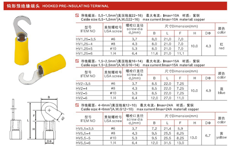 T24-connecting terminal Hooked Pre-insulated Terminal HV Insulated hook terminals