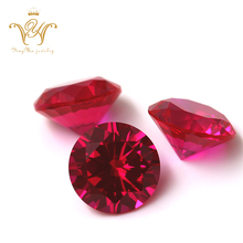 Wholesale semi precious stones High quality Synthetic Corundum loose stone round faceted cut red ruby gemstone