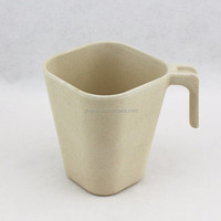 Bamboo Fiber dinner set wholesale white Square Shape porcelain coffee mug with handle