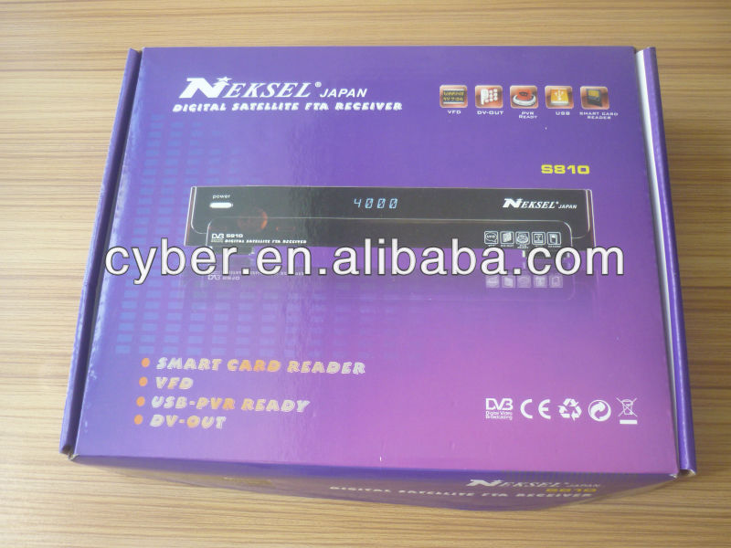 NEKSEL S810 digital satellite fta receiver for nagra3 decoder with iks + sks + gprs dongle (internal) insert sim card