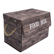 Top hot selling high quality vintage wooden pattern folding fabric food storage box with lid