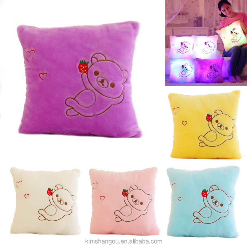 Hot Sale Colorful LED Night Flash Light Teddy Bear Pillow Girls'toys Soft Plush Stuffed Bolster Kids Partner At Night
