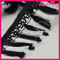 Wholesale fancy white and black polyester material tassel fringe trimmings WTPB-057