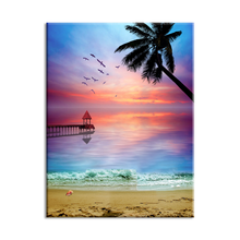 Luxury High Quality Beautiful Sunset Beach Scenery Wall painting Canvas Print For Home Decoration