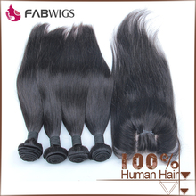 "Fabwigs Straight Grade 7A Unprocessed Brazilian Virgin 3 Way Part 4x4"" Lace Closure with Hair Extension"