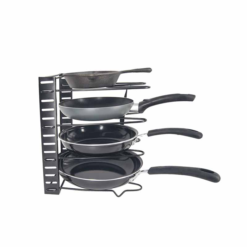 Height Adjustable Home Kitchen Pantry Storage Racks Organizer Pot Pans Lid Cookware Iron <strong>shelf</strong>, Pan organizer