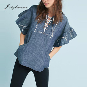 Lace UP Embroidery Loose Denim Tunic Tops Women