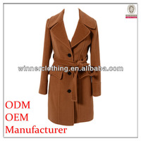 best price long wool wool melton coats with napoleon collar and belt