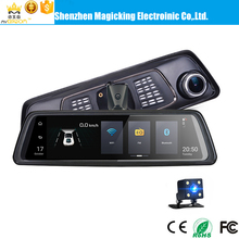 4G 10 inch Android 5.1 rearview mirror ADAS car DVR 1080P video recorder with GPS navigation and rearview camera
