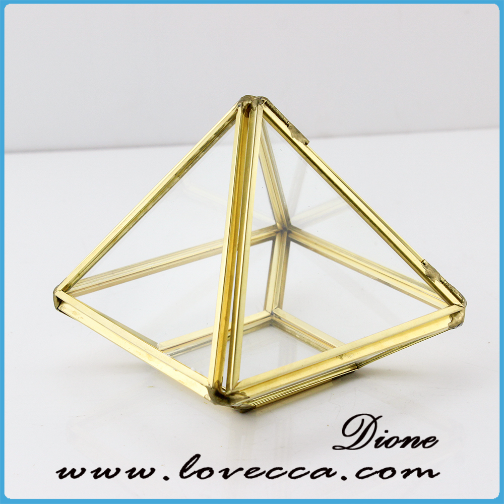 2017 New Design Gold Mini Size Glass Case Jewelry Glass Kraft mini size ring box