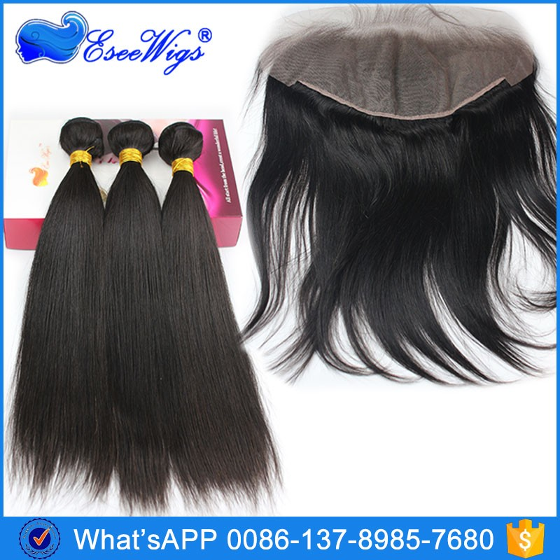 Top Quality 100 Virgin Human Hair 13X6 Lace Frontal Clusure with hair bundles Silk Straight
