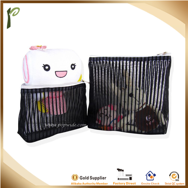 Popwide Black Stripe Mesh Toiletry bag business trip cosmetic beach bag travel wash bag small size