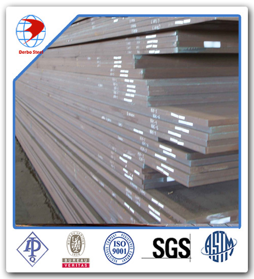 China New Hot Rolled ASTM A36 Steel Plate with 50 Red Epoxy primer and Sand Blasting