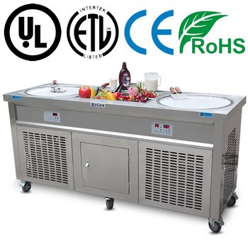 Double round pan ice cream fry roll machine stir ice cream machine with 10pcs ingredients tanks