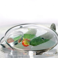 G Type Tempered glass pan cover with refined rim 32cm