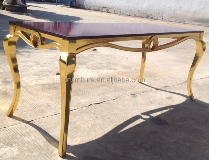 top quality dining room furniture wooden table with gold foil finish