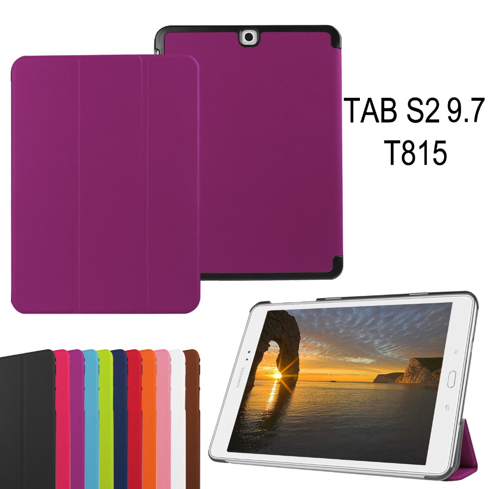 Plain texture PU leather Tri-folding Stand smart tablet Case for Samsung Tab S2 9.7 inch T815