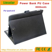 Hot and good quality 2 in 1 leather power case 8000mah external charger case for ipad air