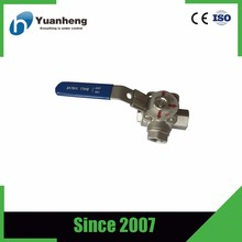 stainless steel 316 Three-way ball valve(type L/T)with mounting pad