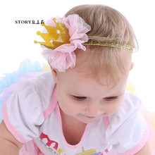 2018 Korean fashion baby girls gold glitter lace mesh flower head wrap elastic headband <strong>hair</strong> bands <strong>hair</strong> <strong>accessories</strong>
