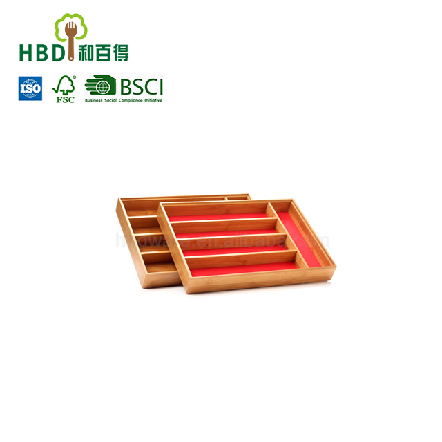 High quality restaurant cutlery tray cheap bamboo trays kitchen drawer cutlery tray wholesale