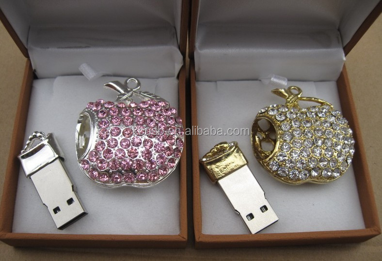 novelty gadget jewelry apple shape usb stick 8gb accept paypal