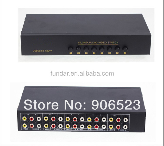 S82VA Video Audio RCA AV Switch 8 ways Selector Splitter 2 output manual switch