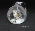 Hot selling cheap open glass ball with owl hanging for Christmas tree decoration