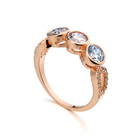 Austrian crystal 18 k gold plated wedding ring with 18k gold engagement rings