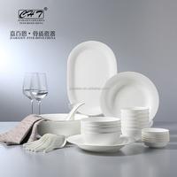 Elegant and luxury fine bone china dinner set porcelain with gold rim for restaurant hotel