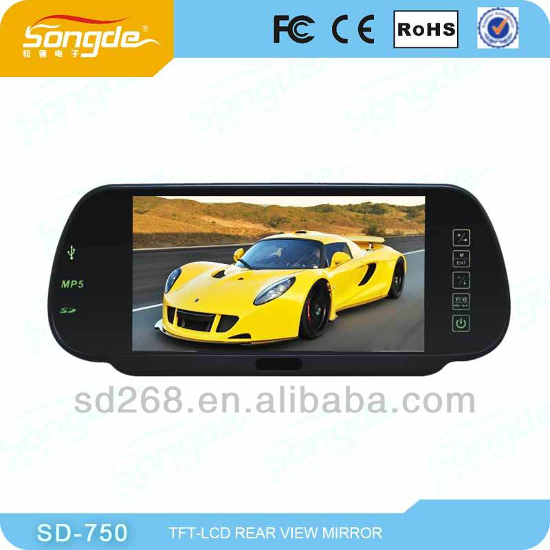 7'' LCD rear view mirror monitor touch button with GPS