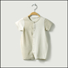 stripe organic cotton snap fastener short sleeve t shirt baby jumpsuit