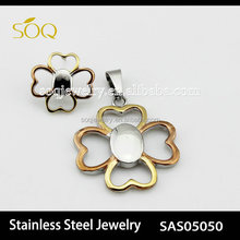 Rose Gold Plated Heart Shape Leaf Flower Charms Pendant & Earrings Set for Fashion Jewelry Set