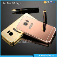 Luxury Aluminum Bumper Metal Electroplate PC Mirror Case For Samsung Galaxy S7 Edge Mobile Cover