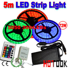 LED Strip Light Remote Control 5050 <strong>RGB</strong> 5m 12V 300 LED waterproof Light + 6A Power adpater CE RoHS Warranty 2 years