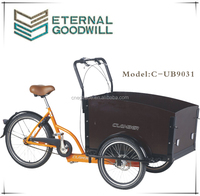 Hot sale dutch cargo bike/bicycle with front wooden box UB9031 three wheel cargo tricycle for adult