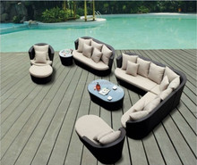 With very good warrantee resin wicker cushioned sofa