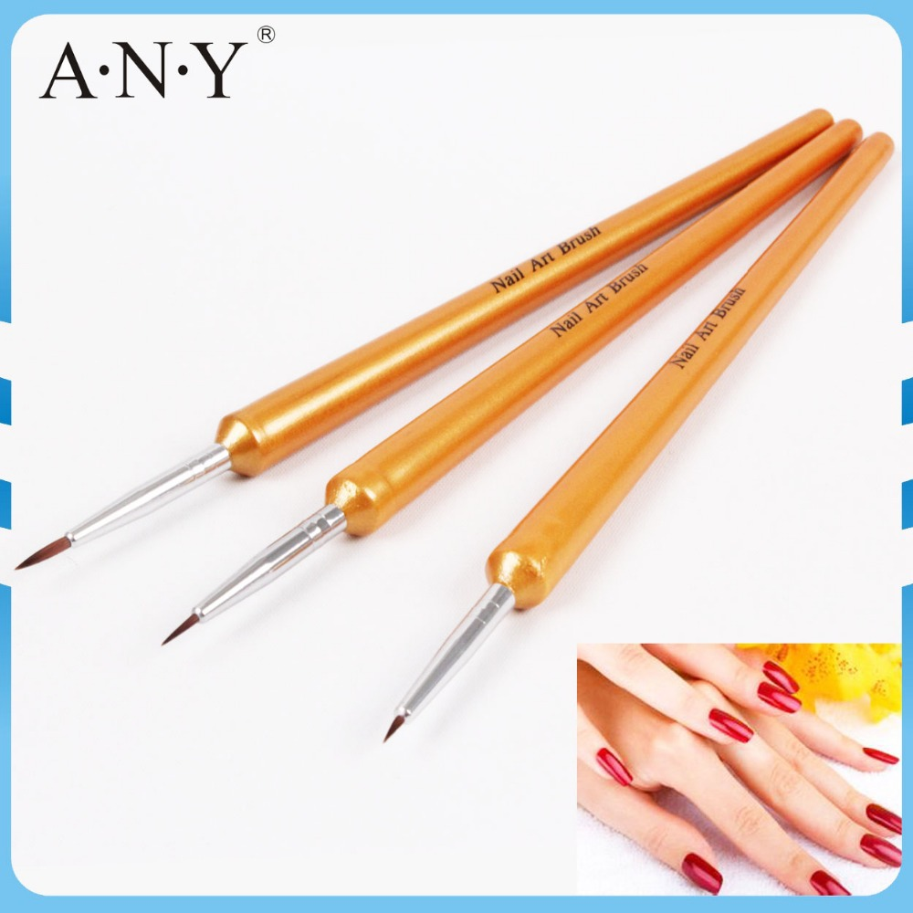 ANY Nail Art Beauty Care 3PCS Golden Wooden Handle Nylon Nail Brush Set