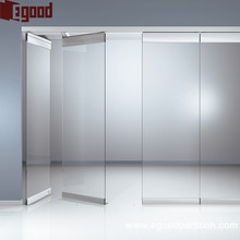 Frosted room divider slidding folding glass doors movable partition for school office