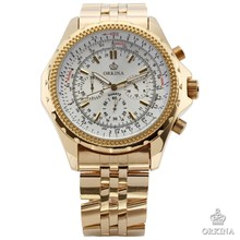 ORKINA Men's Stopwatch Chrono Golden Stainless Steel Casual Quartz Wrist Watch