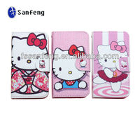 2014 Hot Selling For iphone 4 4S Hello Kitty Leather Case
