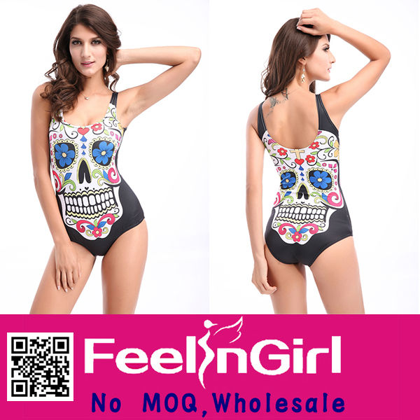 Wholesale High Quality Human Skeleton Colorful Latex Retro Swimsuit